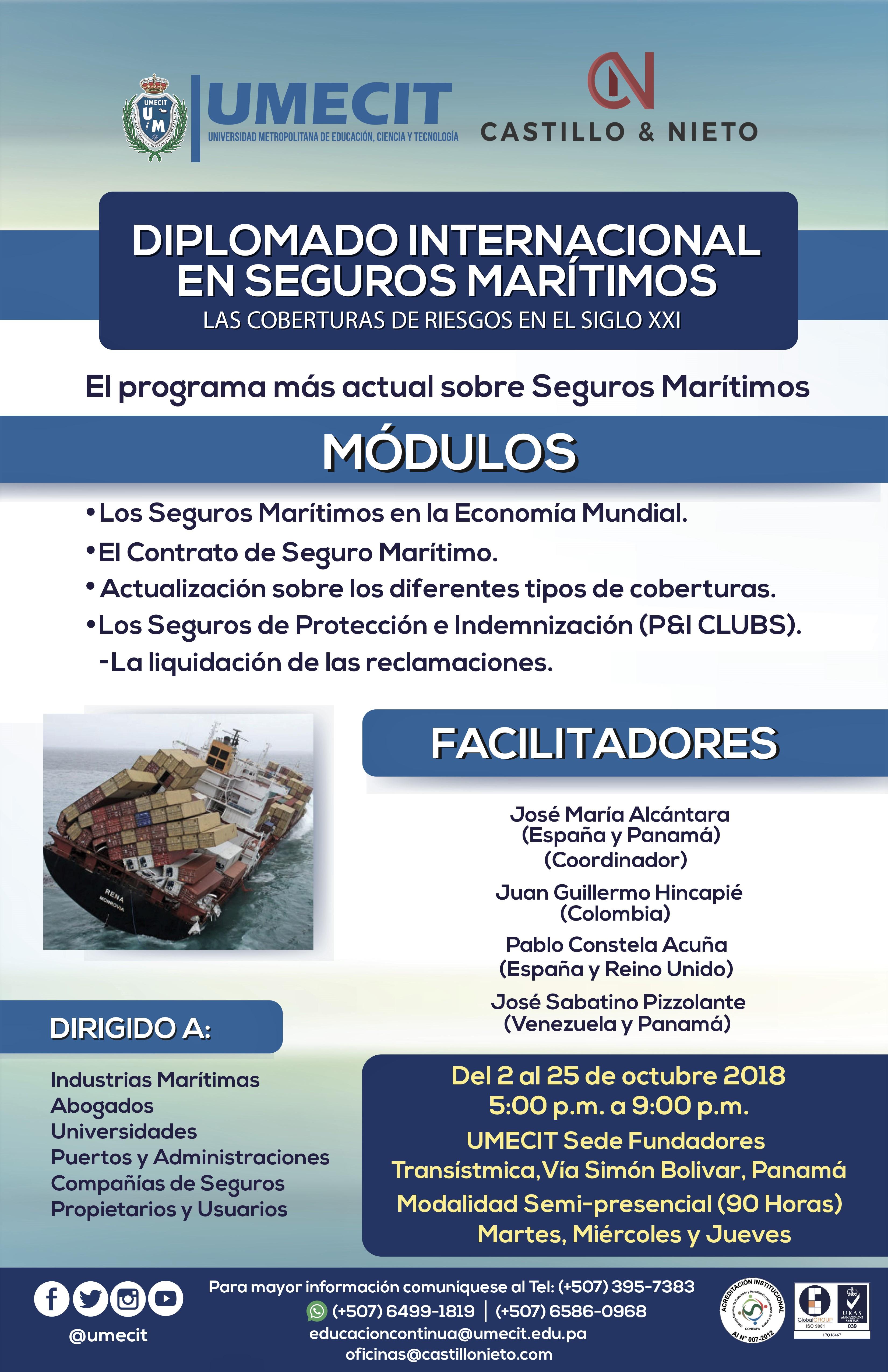Diplomado Internacional en Seguros Marítimos